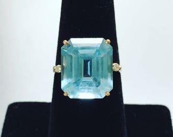 9.2 Carat Aquamarine Ring With Diamond Accents in 14K Yellow Gold Setting - Aquamarine Engagement Ring - Aquamarine and Diamond Ring Wedding