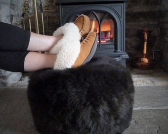 "Handmade British Organic Sheepskin Pouffe for Luxury Home Decor in Limited Edition ""Café Noir"""