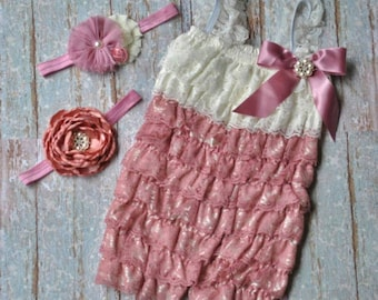 Dusty Rose and Ivory Lace Romper with Headband Infant Toddler