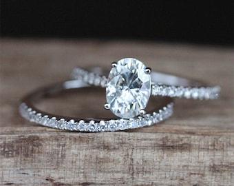 Forever One Moissanite Engagement Ring Set 5*7mm Oval Cut Moissanite Ring Half Eternity Wedding Ring Set 14K White Gold Ring Set Bridal Set