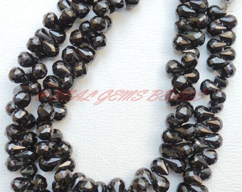 "Natural Black Spinel Drops, Black Spinel Faceted Tear Drop Briolettes, 8x6 MM Size, 9"" Strand, Loose Gemstone Beads, Finest Quality"