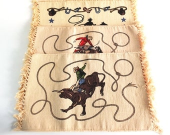 Woven Cowboy Placemats, Set of 5