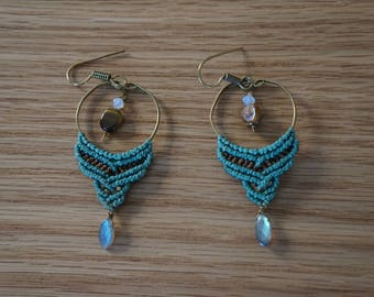 Handmade macrame hanging earings