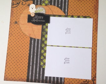 "Halloween Two Page Scrapbook Layout, Premade, 12 x 12, ""Happy Halloween"""