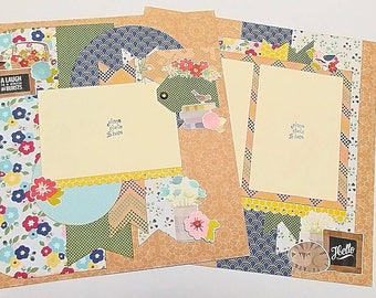 """2-Page 12x12 Premade Scrapbook Layout - """"Spring Laughter"""""""