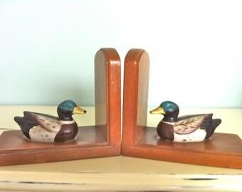 Mallard Duck Bookends/Mallard Duck Decor/Duck Bookends/Ceramic Mallard Duck Bookends/Vintage Mallard Ducks/Ceramic Mallard Duck Figurines
