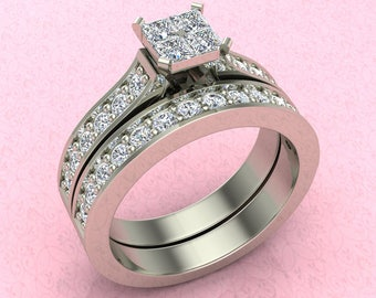 Four Quad Princess Cut Cubic Zirconia Cathedral Accent Wedding Ring Set