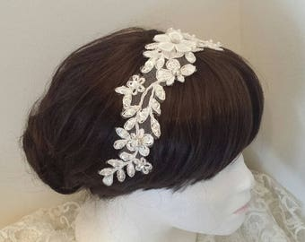 Beaded Lace Headband, Updo Decorative Hairpiece, Veil Lace Comb