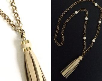 Long Brass n Cream Leather Tassel Necklace