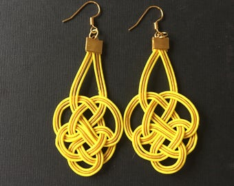 knot earrings - rice paper ropes - yellow- Japanese inspiration