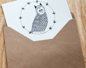 Cute Owl Greeting Card, Friendship Card, Just Because Card, Note Card