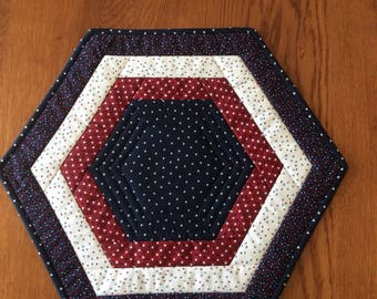 Quilted red white and blue hexagon table topper