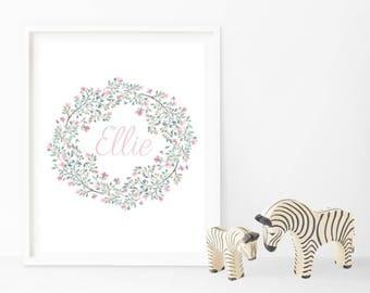 Floral Wreath Name Print
