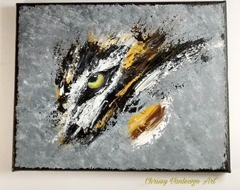 Abstract tiger, tiger painting, palette knife painting, original artwork,