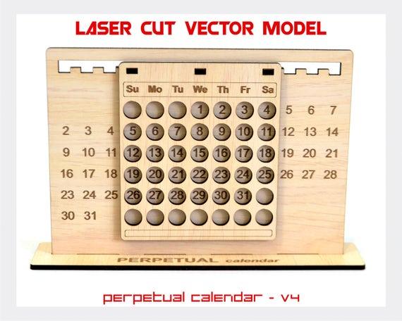 Perpetual Calendar, Calendar Laser Cut Vector Model, Perpetual