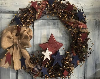 "18"" Primitive country grapevine Americana wreath"