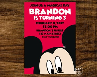 MICKEY MOUSE INVITATION -  Mickey Mouse Party Invitation -  Mickey Invitation.