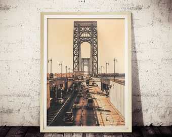 Vintage New York City Photograph, Vintage Cool Sepia George Washington Bridge Photograph 1931, NYC Print, Rustic Vintage Home Decor