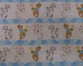 Flanel fabric with Teddy and Rabbit marching band
