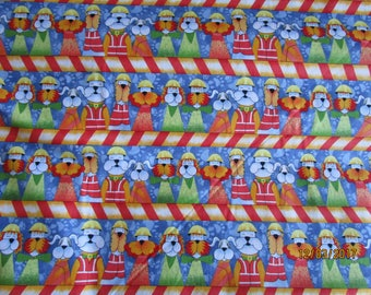 Construction Dogs Border print fabric