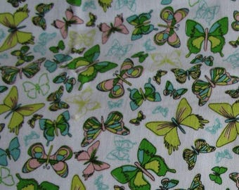Butterfly fabric Sweet Tea pattern Green's yellows and pinks