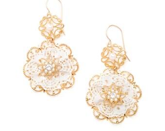 Wedding Dangle Earrings, Gold Floral Bridal Earrings, Gold Lace Earrings, Bridal Shower Gift, Statement Bridal Earring, Large Bridal Earring