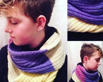 Hand-Made Knit Wrap Scarf - Multi-Colour - Yellow/Purple Multi-Hue