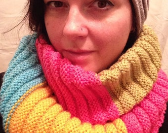 Hand-Made Knit Wrap Scarf - Multi-Colour - Yellow/Blue/Pink