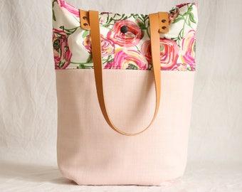 Shoulder bag with leather handles, shopper, Tote, bag, pink