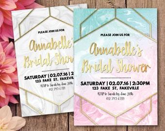 Geometric bridal shower invitation, marble bridal shower invitation, marble geometric invitation, gold, pink, blue, white, marble (Annabelle