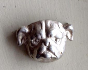 Antique Vintage Sterling Silver Bulldog Dog Brooch Pin Limited Edition