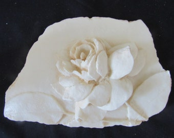 For the Rose Lover  Off White Resin Plaque of a 3D  Rose for Indoors or Outside  409