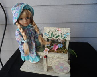 CLEARANCE    Collector's Choice Blonde Porcelain Doll, Doll Stand, Flower Cart   Doll Collector  1182