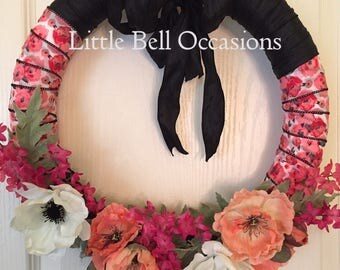 Wreath/Dramatic Floral Ribbon Wreath/Every Day/Statement Wreath/Black/Chic/Vibrant Colors/Unique/Modern/Front Door/Bedroom/Gift/Different