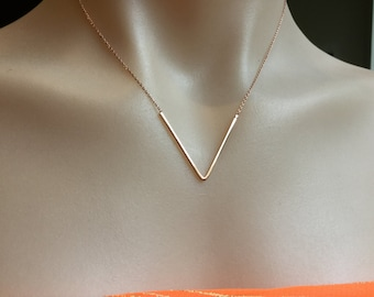 Chevron/V shape/Rose Gold/Necklace/Chevron necklace/chain/Rose Gold plated chain/V shaped necklace