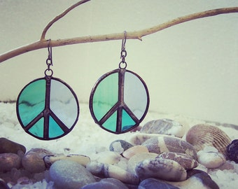 Hippie peace earrings, Hypoallergenic earrings, Boho peace earrings, emerald earrings, Peace earrings, Hippie jewelry, Hippy earrings, Peace