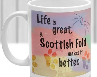Scottish Fold cat mug, Scottish Fold cat gift, ideal present for cat lover