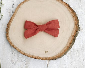 Rust Linen Bow - School Girl Bows - Baby Bow - Toddler Clip - Baby Headband - Handmade Bow- Pigtail Set