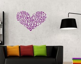 Love heart of love quotes vinyl wall art