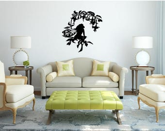 Fairy on branch with flowers wall vinyl or sticker