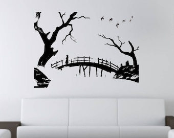 Japanese samurai on bridge wall vinyl or sticker