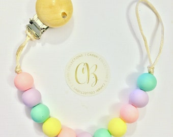 """The """"Pastel"""" Colletion - Silicone Teething Pacifer Clip"""