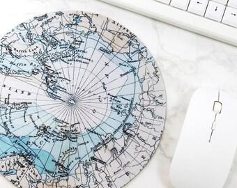 Round Map Mouse Pad Blue Mouse Mat Desk Inspiration
