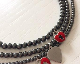 Trio of heart bracelets