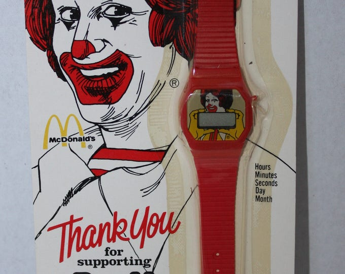 Vintage The Official Ronald McDonald House Promotional Red Watch 1984