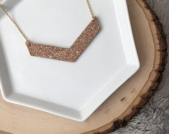 Hand painted Wooden Chevron Necklace// Gold Chevron necklace//Chevron Necklace//Wood Necklace