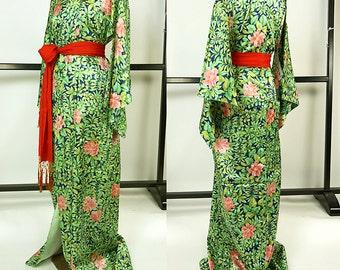 K039 Beautiful Japanese Kyo-Yuzen Blue and Green Komon Kimono Cute