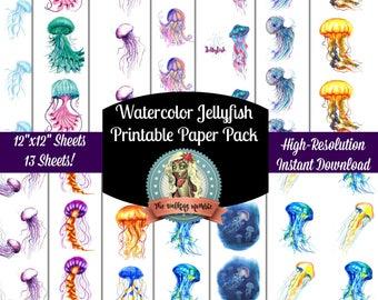 Jellyfish Watercolor Printable Paper Pack, Jellyfish Print, Jellyfish Printables, Jellyfish Art, Jellyfish Decor