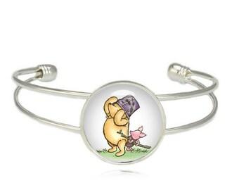 Winnie the Pooh Bracelet Winnie the Pooh Cuff Bangle Piglet Classic Winnie Pooh Jewelry