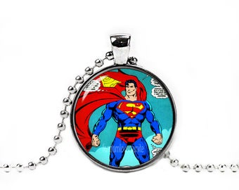 Superman Pendant Superman Comic Necklace with a ball chain Fandom Jewelry Cosplay Fangirl Fanboy